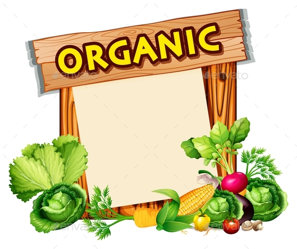 Organic Sign with Mixed Vegetables - Food Objects