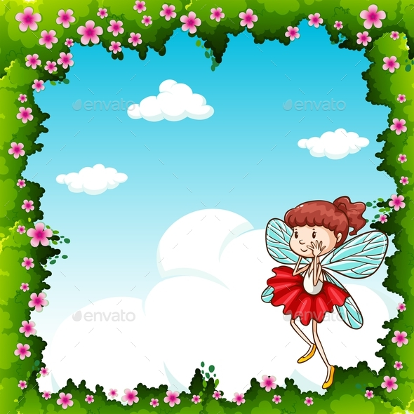 Border Design with Fairy Flying - People Characters