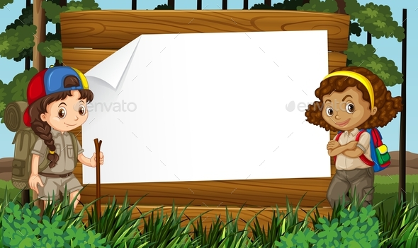 Cartoon Character Border Design : Border design with two girls camping out by blueringmedia