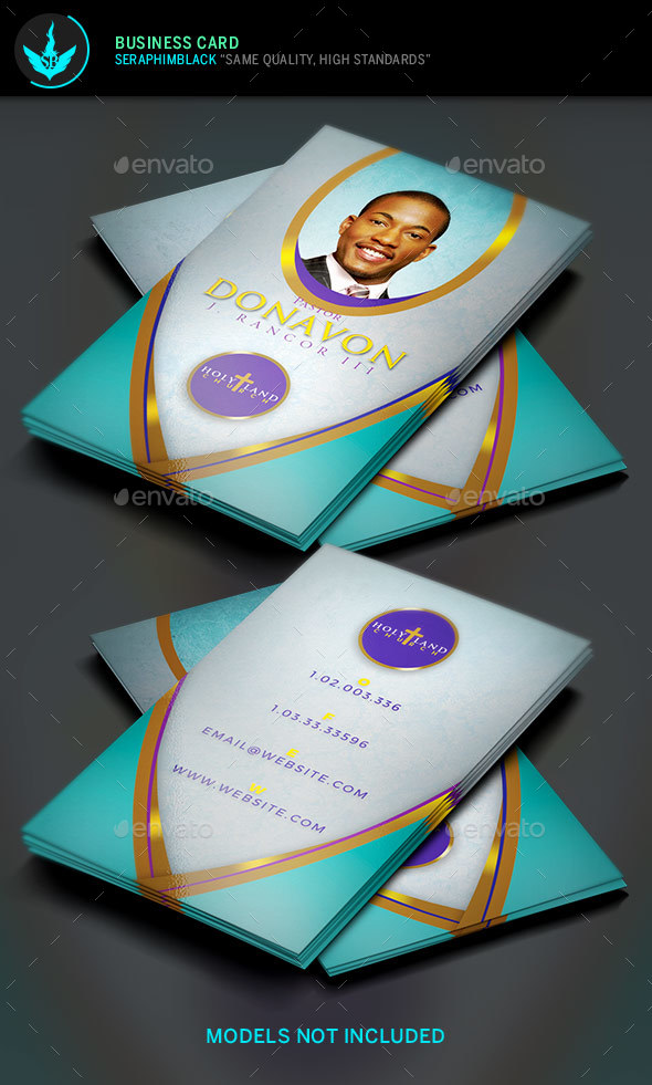 Royal Teal Church Business Card Templat - Business Cards Print Templates