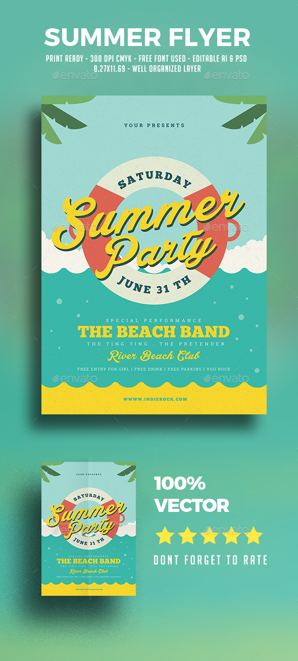 Summer Beach Flyer - Flyers Print Templates