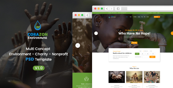 Corazon - Multi Concept Environment / Charity / Green Energy / Nonprofit PSD Template