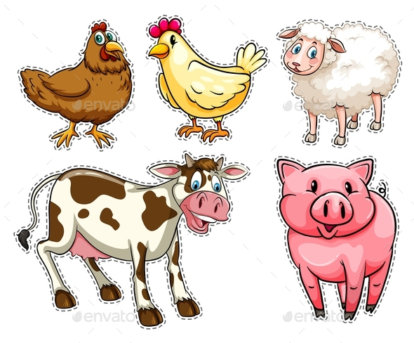 Sticker Set with Farm Animals - Animals Characters