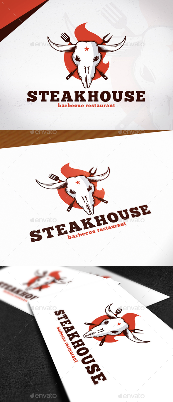 Steakhouse Bbq Logo Design - Restaurant Logo Templates