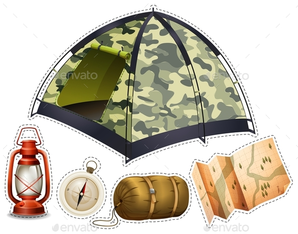 Sticker Set with Camping Equipment - Man-made Objects Objects