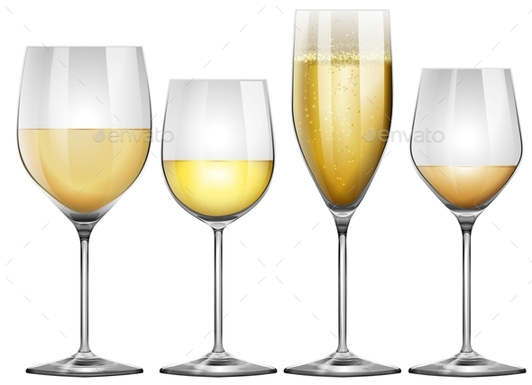 White Wine in Tall Glasses - Food Objects