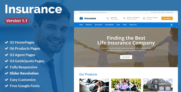 Insurance is a clean HTML5/CSS3 Template suitable for Insurance Agency, Insurance Agent, Business, Corporate, Consulting services. You can customize it very easy to fit your needs.