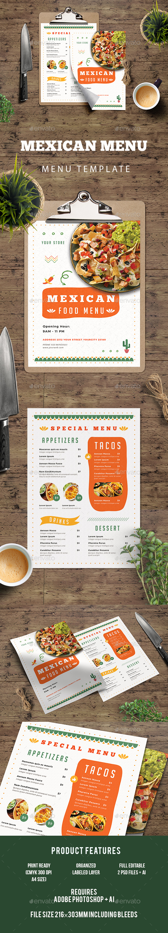 Mexican Food Menu - Food Menus Print Templates