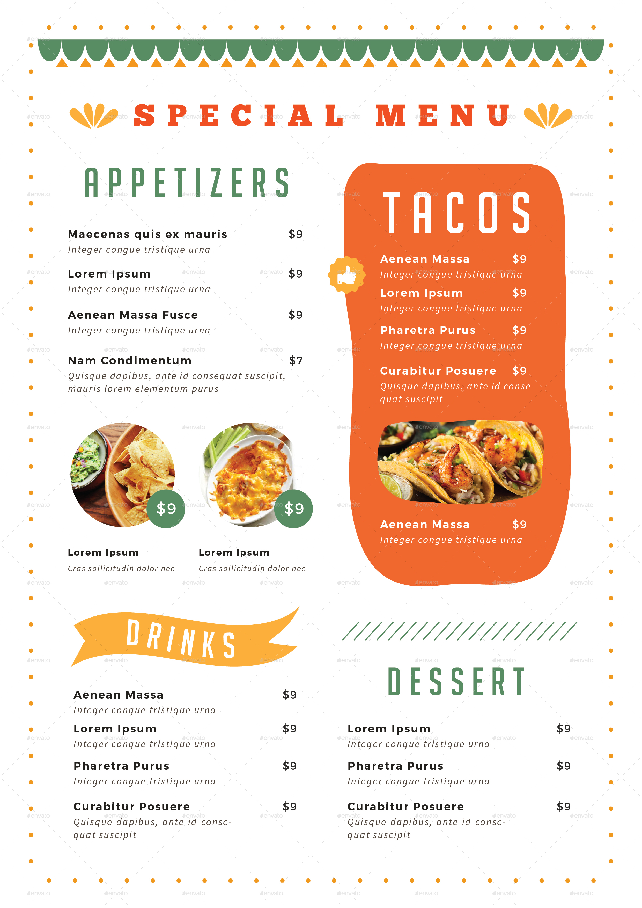 mexican food menu by infinite78910 | graphicriver