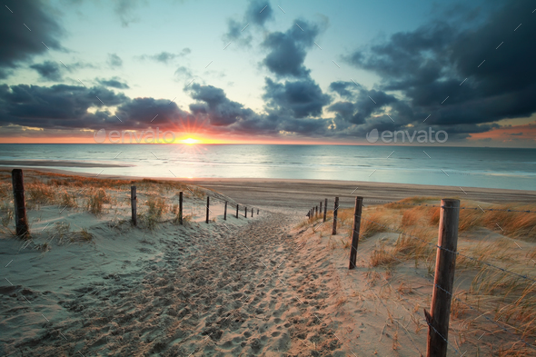 sand path to sea beach at sunset - Stock Photo - Images