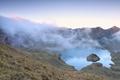 morning fog over alpine lake Schrecksee