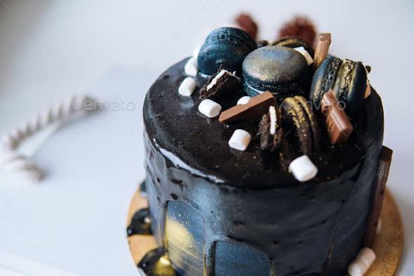 beautiful designer chocolate cake - Stock Photo - Images