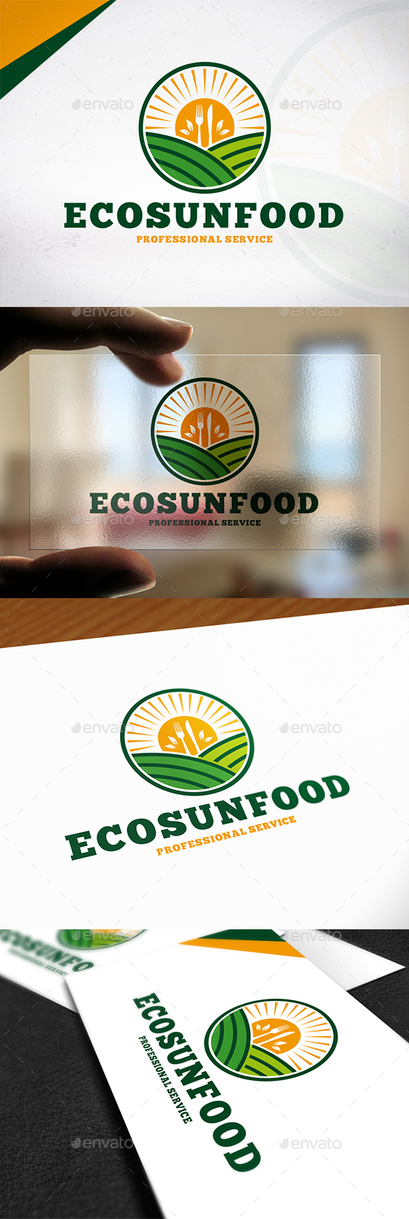 Eco Sun Food Logo - Nature Logo Templates