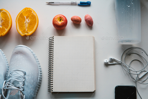 Workout and fitness,Planning control diet concept. - Stock Photo - Images