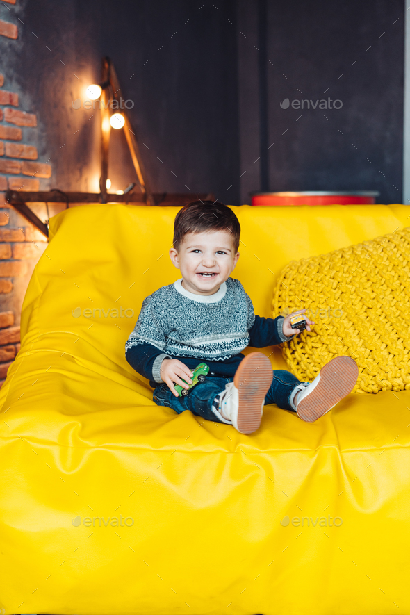 portrait of a cheerful little boy - Stock Photo - Images