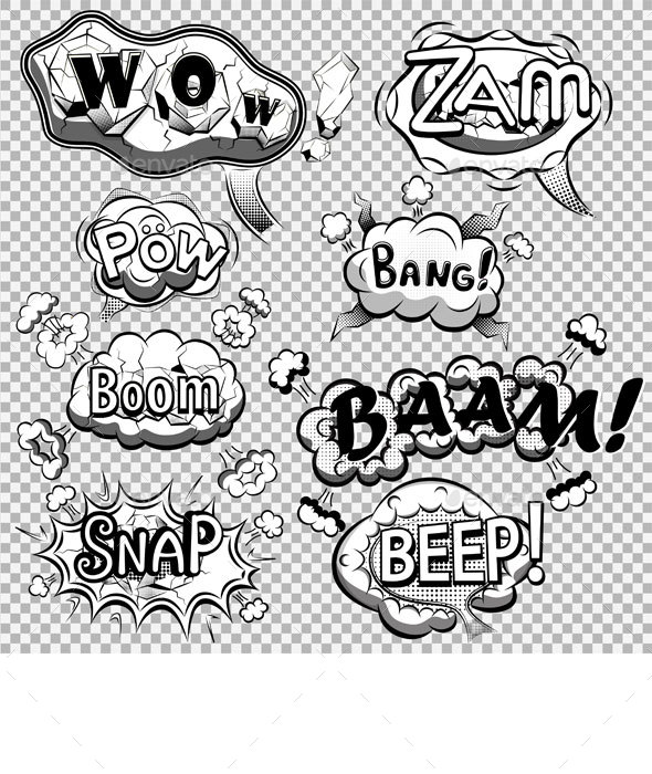 Black and White Comic Speech Bubbles - Decorative Symbols Decorative