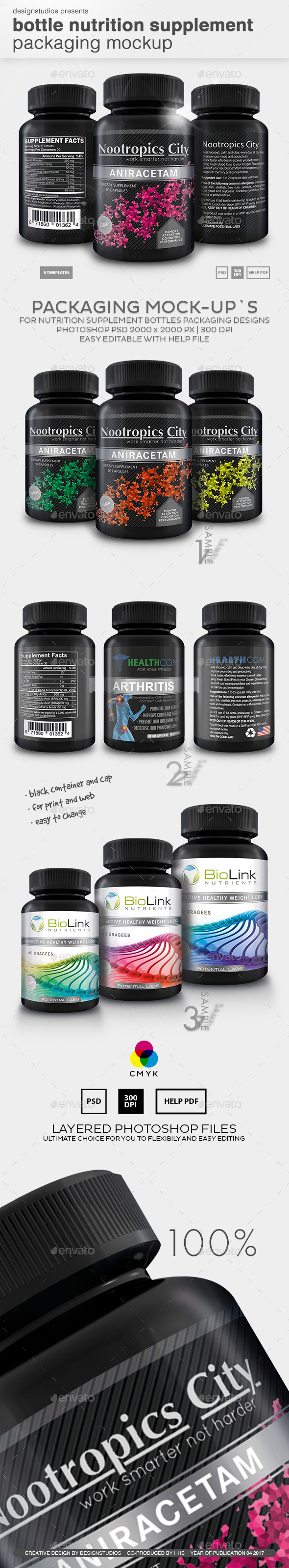 Bottle Nutrition Supplement Packaging Mock-Up - Food and Drink Packaging