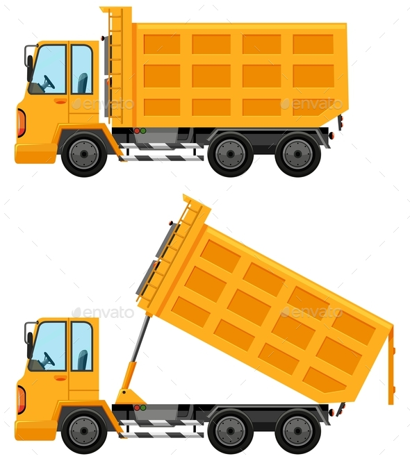 Dumping Trucks in Yellow Color - Man-made Objects Objects