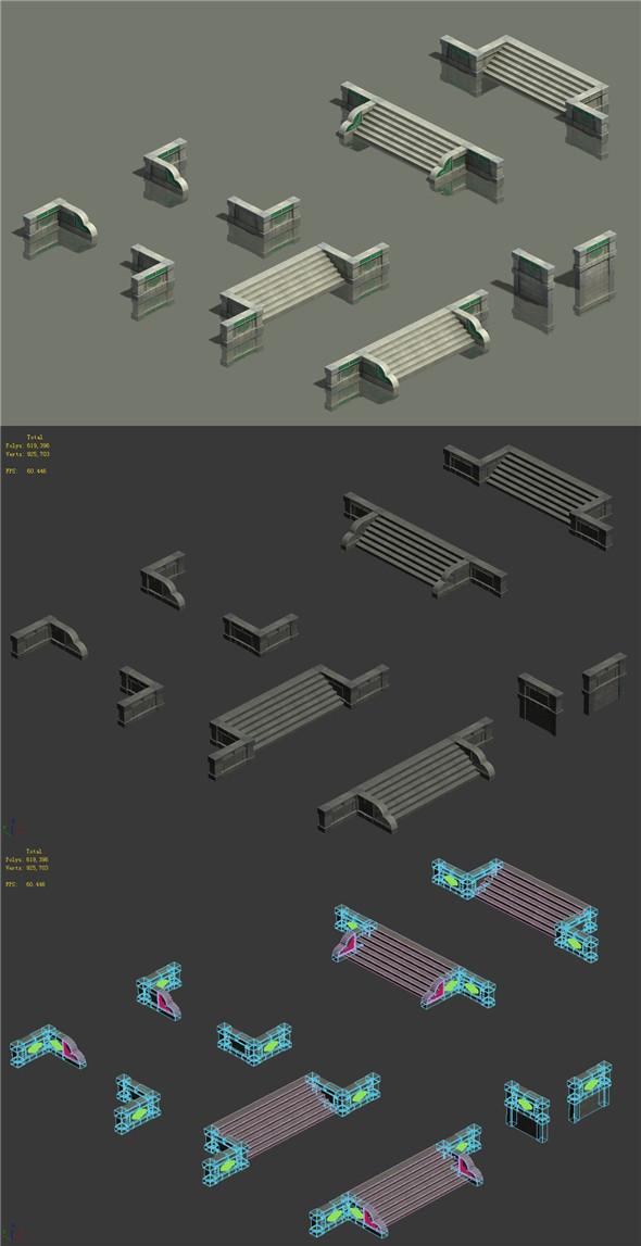 Waterway - steps - 3DOcean Item for Sale