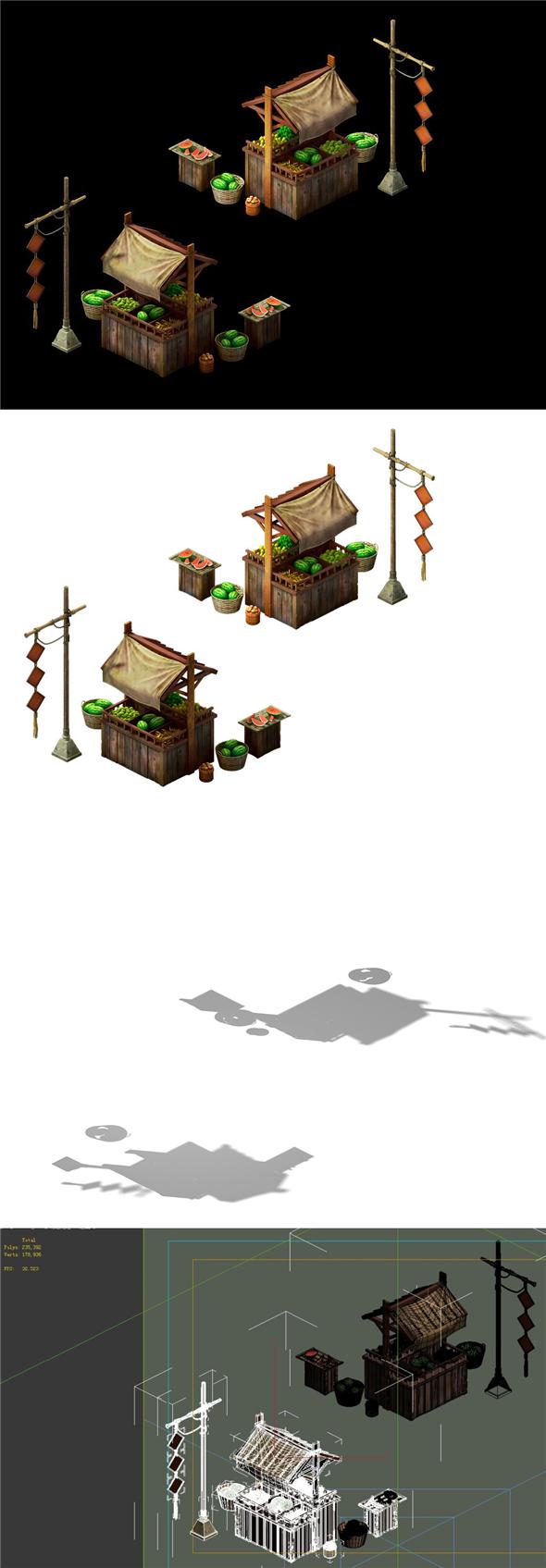 Game Model - Fruit Stall - 3DOcean Item for Sale