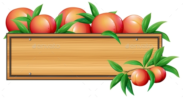 Wooden Sign Template with Peaches - Food Objects