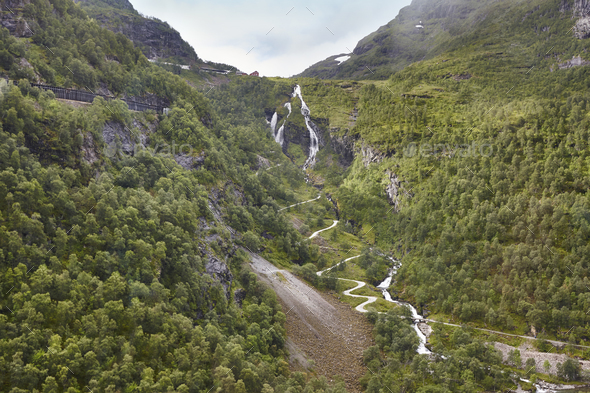 Flam train ascent in Norway. Norwegian mountain landscape. Tourism. Horizontal - Stock Photo - Images