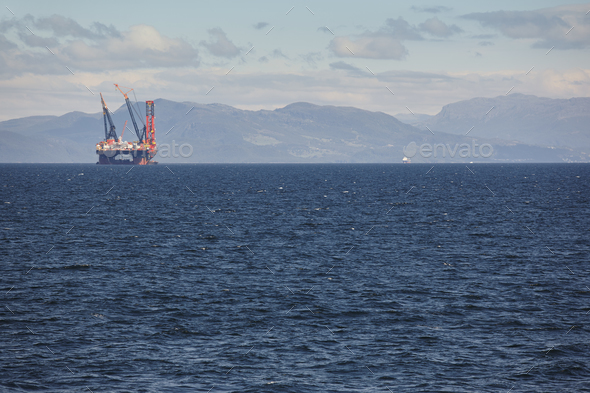 Oil and gas sea platform in Norway. Energy industry. Petroleum exploration - Stock Photo - Images