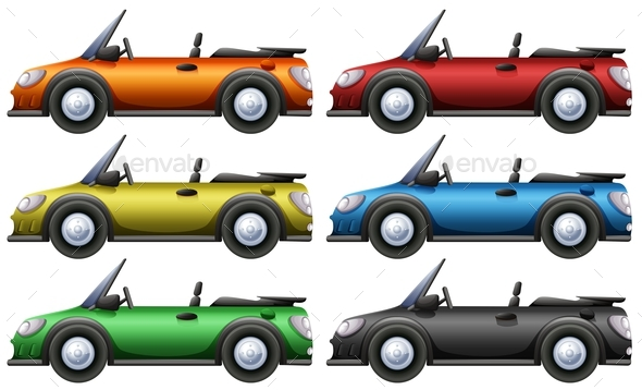 Convertible Cars in Six Colors - Man-made Objects Objects