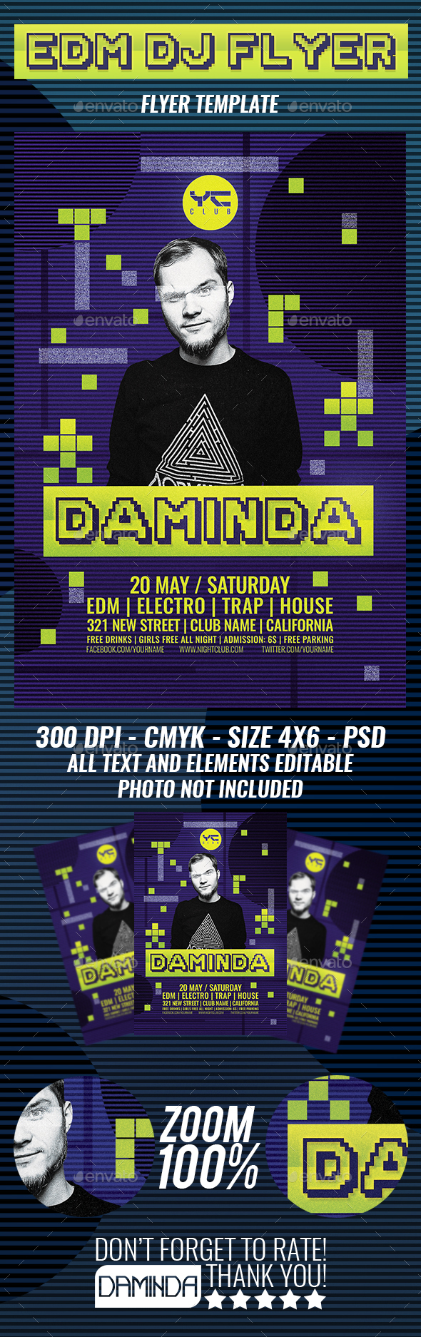 Electro Dj Poster 4 Flyer Template - Clubs & Parties Events
