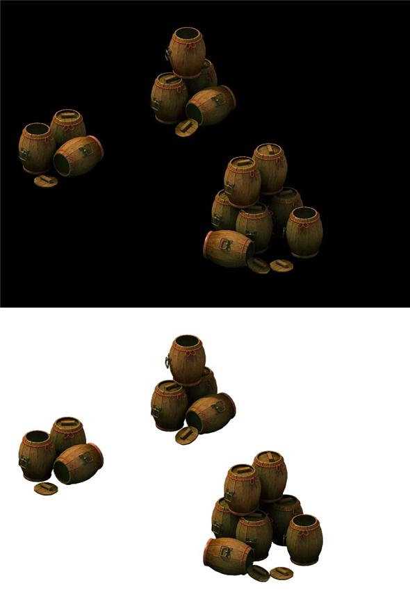 Game Model - Bucket Barrel Cask - 3DOcean Item for Sale