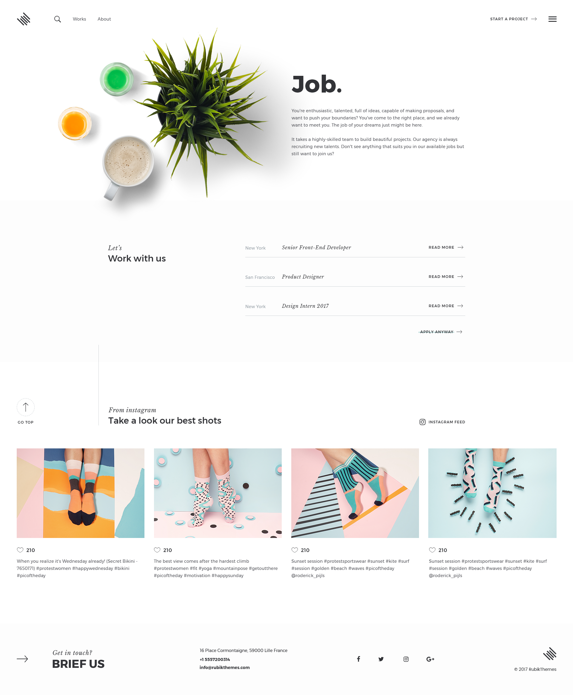Minimal Psd Portfolio Template With Images: Portfolio PSD Template By TheRubikTemplate