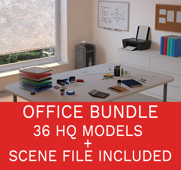 Office accessories set - 36 models + scene files - 3DOcean Item for Sale