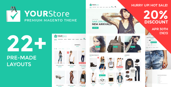 Premium best rated Magento theme - YourStore. 20%off hurry up!