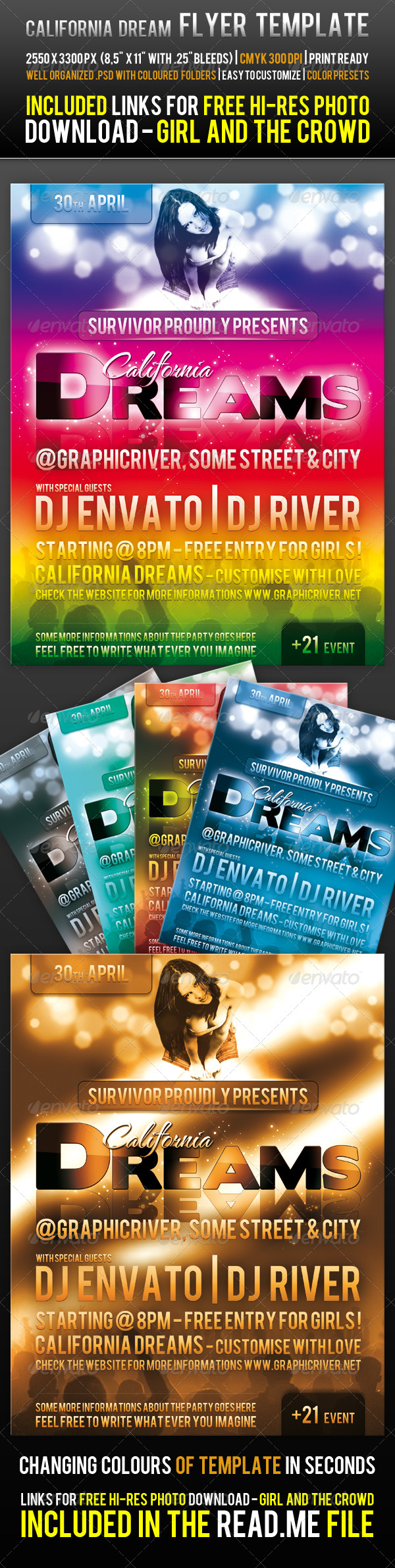 California Dream Flyer Template - Clubs & Parties Events