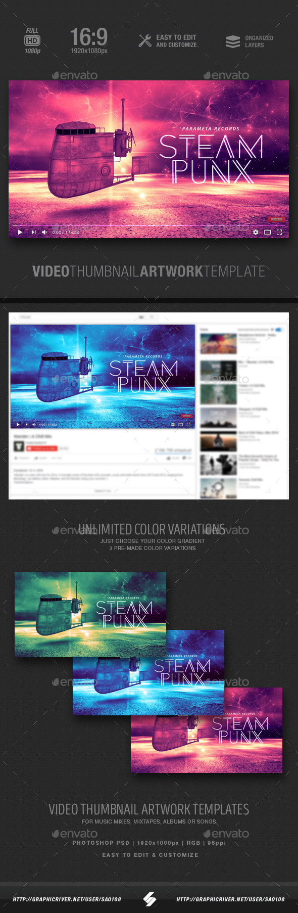 Steampunx - Music Video Thumbnail Artwork Template - YouTube Social Media