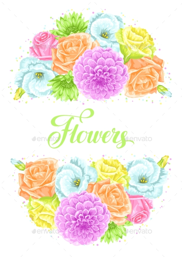 Invitation Card with Decorative Delicate Flowers - Flowers & Plants Nature