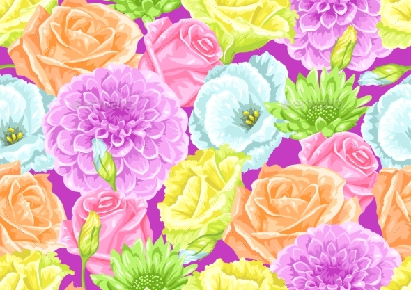 Seamless Pattern with Decorative Delicate Flowers - Flowers & Plants Nature