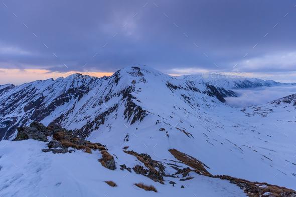 Fagaras Mountains in winter, Romania - Stock Photo - Images
