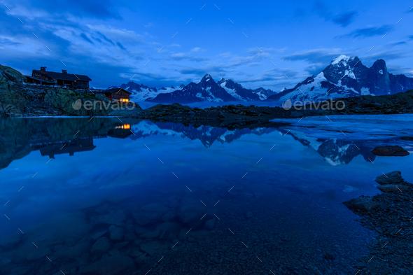 Lac Blanc Refuge (2352m), Massif du Mont Blanc - Stock Photo - Images