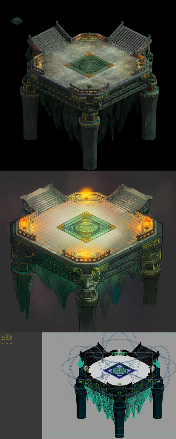 Game Model - Four Saints Palace under the design of a small square - 3DOcean Item for Sale