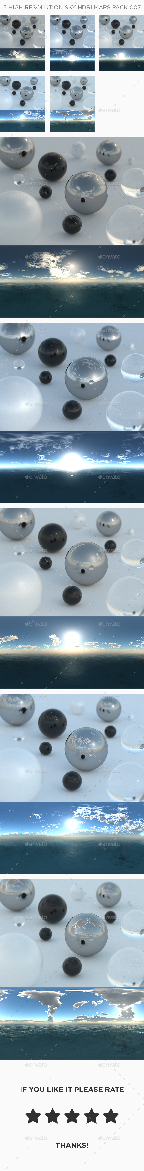 5 High Resolution Sky HDRi Maps Pack 007 - 3DOcean Item for Sale