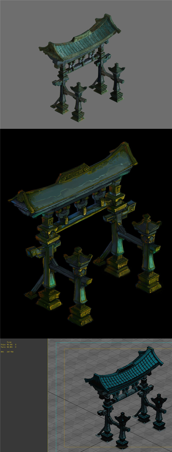 Game model - the entrance of the large area of four Sagun archway - 3DOcean Item for Sale