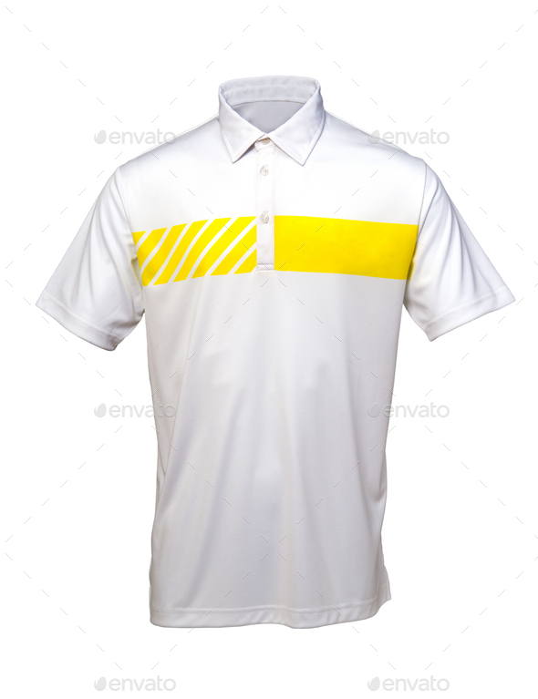 Golf white and yellow tee shirt for man or woman - Stock Photo - Images