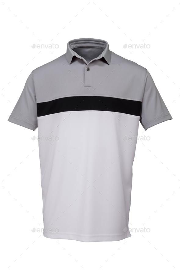 Golf grey, black and white tee shirt for man - Stock Photo - Images