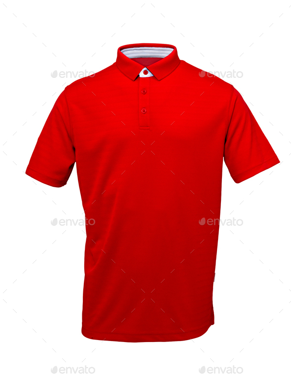 Golf red  tee shirt  with white collar on  white background - Stock Photo - Images