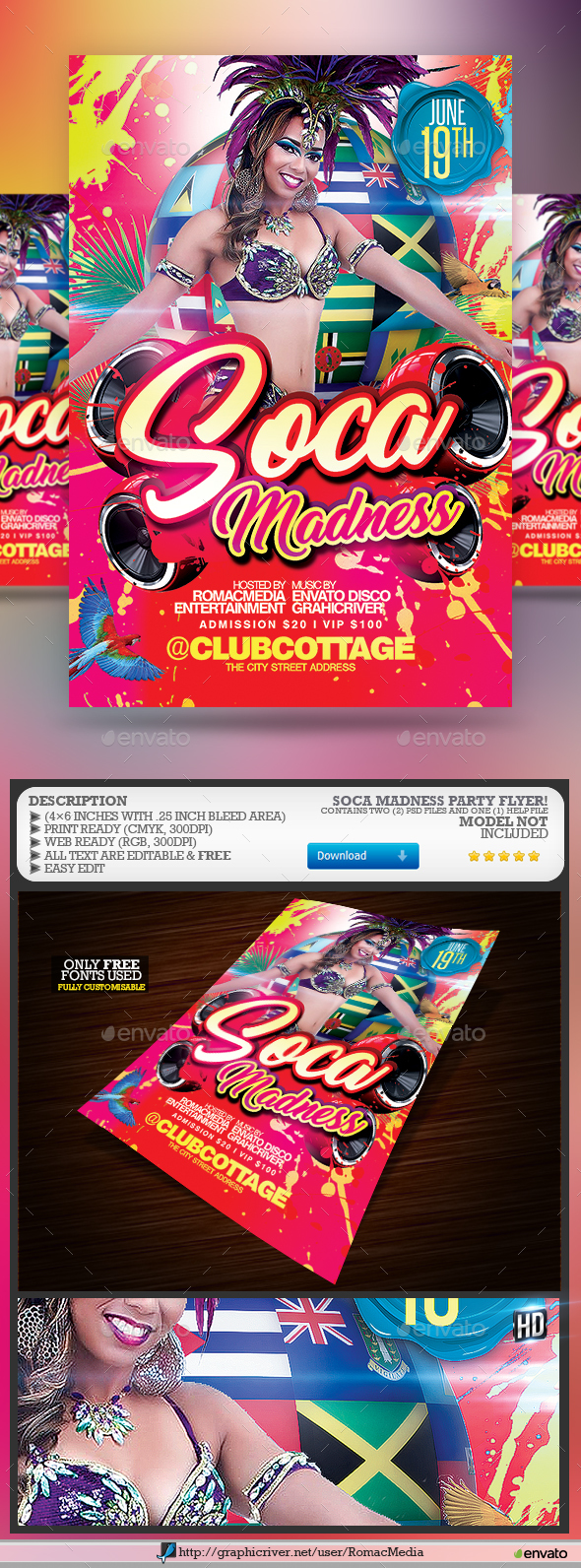 Soca Madness Color Party Flyer - Clubs & Parties Events