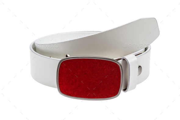 Leather white belt with red buckle - Stock Photo - Images