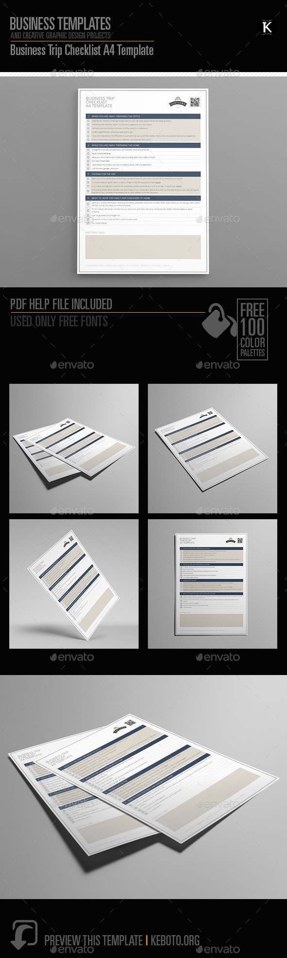 Business Trip Checklist A4 Template - Miscellaneous Print Templates