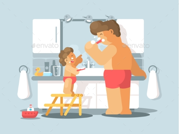 Father and Son Brush Teeth - People Characters