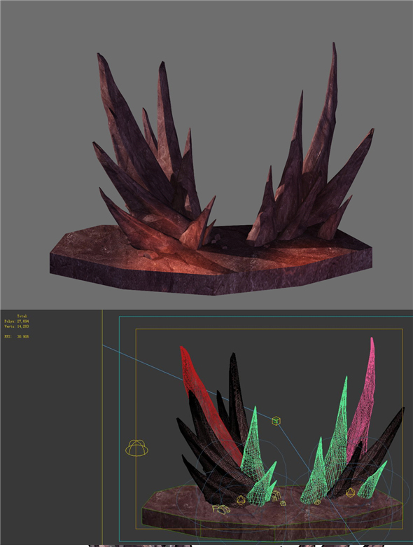Game model - prominent volcanic stone teeth - 3DOcean Item for Sale